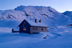Mountain Cabin In Sunset Stock Images