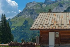 Mountain cabin in the French alps royalty free stock photography