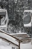Mountain cabin after snow storm. Frosted mountain cabin after snow storm Royalty Free Stock Photos