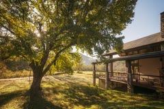 Mountain Cabin Sunrise Stock Photos