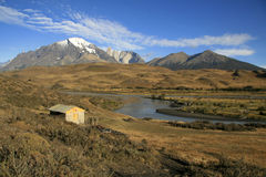 Mountain cabin in Torres del Paine Royalty Free Stock Photos