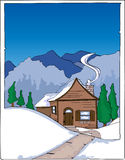 Mountain cabin in winter. Illustration of mountain cabin in winter Stock Photography