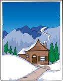 Mountain cabin in winter. Illustration of mountain cabin in winter Vector Illustration