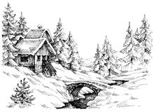 Mountain cabin in the woods near river Stock Photography