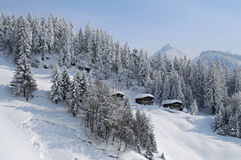 Mountain cabins in the Alps located in beautiful landscape Royalty Free Stock Images
