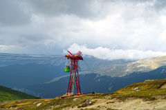 Mountain Cable car in Bucegi mountains. Cable car ropeway on the mountain Stock Image