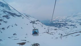 Mountain cable car passenger point of view, trip to ski resort, extreme sport. Stock footage stock footage