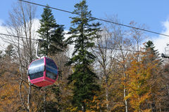 Mountain cableway during the summer Stock Photo