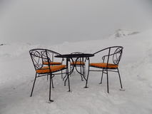 Mountain Cafe in the open air in the snow Royalty Free Stock Image