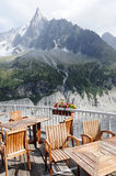 Mountain cafe terrace Royalty Free Stock Image