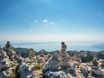 Mountain cairn at Sveti Jure mountaintop, Biokovo mountain, Croatia royalty free stock photography