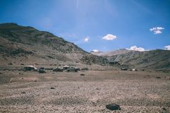 Mountain camp with cars and tents in Indian Himalayas,. Ladakh region stock photography
