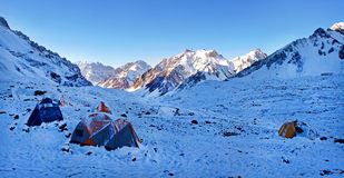 Mountain camp in the Himalayas Stock Photos
