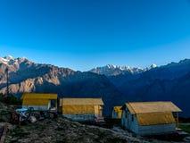 Mountain camp - Himalayas. Mountain camp on sunrise in the Himalayas - Auli (ski destination), India Stock Image