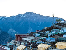 Auli Mountain camp, Himalayas. Mountain camp on sunrise in the Himalayas - Auli (ski destination), India Stock Photo