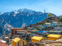 Mountain camp - Himalayas. Mountain camp on sunrise in the Himalayas - Auli (ski destination), India Stock Images