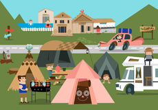 Mountain camp A. People enjoying their vacation in the camp ground royalty free illustration