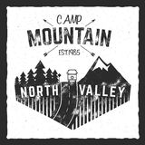 Mountain camp poster. North valley sign with rv trailer. Classic design. Outdoor adventures logo, retro colors. Graphic Stock Photography