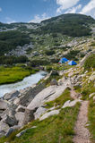 Mountain Camp Tents Royalty Free Stock Images
