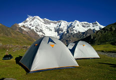Mountain Camp. Trek round Ausangate mountain in Andes (Cordillera Vilcanota), Peru Stock Photo