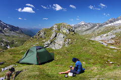 Mountain camping. Camping place high in the Austrian Alps Stock Images