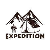 Mountain Camping, Campfire, Vector Logo and Labels Set. Illustration for Sport and Recreation vector illustration