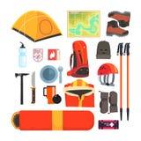 Mountain Camping Equipment Set Stock Photos
