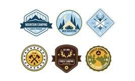 Mountain camping retro logo badges set, forest ranger camp, wild adventure labels vector Illustration on a white vector illustration