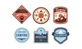 Mountain camping retro logo badges set, forest ranger camp, wild adventure vintage labels vector Illustration on a white stock illustration