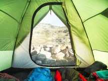 Mountain Camping Tent Inside View Stock Photo
