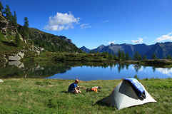 Mountain campsite Royalty Free Stock Photo