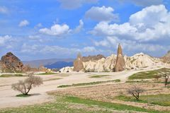 Mountain Cappadocia is a fantastic place for horseback riding and quad bike. The photo was taken in Turkey in the spring. The picture shows the beautiful stock image