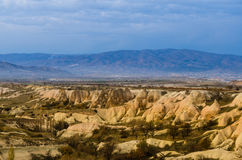 Mountain in Cappadocia during sunset. Royalty Free Stock Images