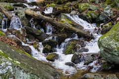 Mountain Cascading Waterfall in a Boulder Field - 2. Mountain cascading waterfall through a boulder field located the mountains of Virginia, USA Stock Photos