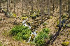 Mountain Cascading Waterfalls in the Woods - 2. Small Cascading Mountain Waterfalls located in the forest of the Blue Ridge Mountains, George Washington National Royalty Free Stock Photo