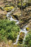 Mountain Cascading Waterfalls in the Woods - 3. Small Cascading Mountain Waterfalls located in the forest of the Blue Ridge Mountains, George Washington National Stock Photography