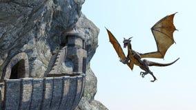 Mountain Castle Dragon Fantasy Background stock photo