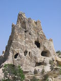 Mountain with caves. In Cappadokya, Turkey. These caves were once homes for people living in this area stock photo