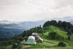 Travel the nature of the Carpathian mountains couple stock image