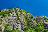 Mountain chain. In Montenegro with some ruins on it Stock Photo