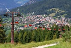 Mountain chairlift in summer royalty free stock photography