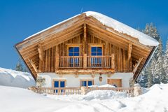 Mountain chalet in the alps in winter. Snow Stock Photo