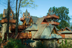 Mountain Chalet II. Stone and wood mountain chalet royalty free stock photos