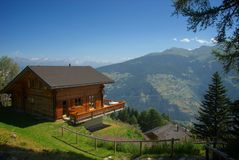 Mountain chalet Les Colons. Switzerland Aug-5-13 relaxing summer altitude mountain valley scenery Royalty Free Stock Photos