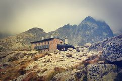 Mountain chalet in vintage style. Stock Photo