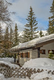 Mountain chalet in winter Alps. Small mountain chalet in winter Alps Stock Photo