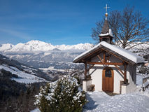 Mountain chapel in the Alps Royalty Free Stock Image