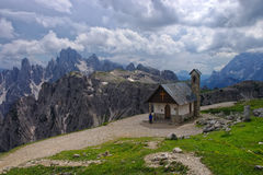 Mountain chapel in Dolomites, Italy Stock Images