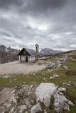 Mountain chapel near Tre Cime di Lavaredo in Dolomites Alps Royalty Free Stock Image