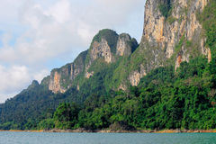 Attractions in Thailand. Mountain in the Cheawlarn dam Stock Photography